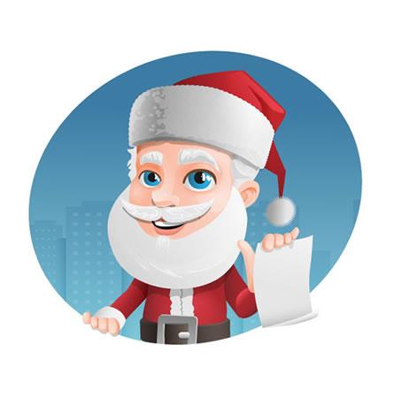 Mascote Feliz Natal Papai Noel Lista